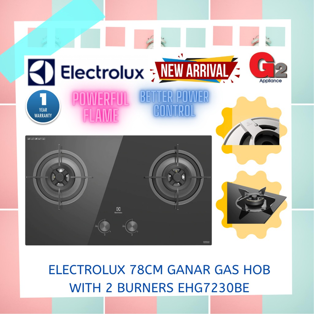 Electrolux Ganar Gas Hob with 2 burnersEHG7230BE - Electrolux Warranty Malaysia