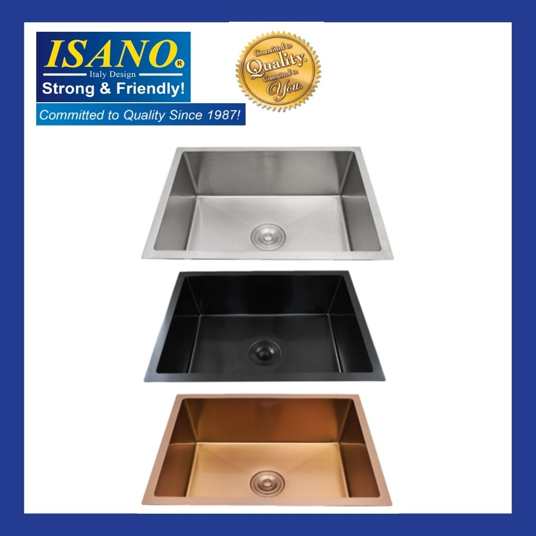 ISANO B6045NA / B6045BL / B6045RG Premium Nano Kitchen Sink Stainless Steel Under Mounted Single Bowl