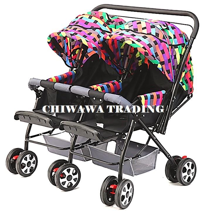 Ultralight Foldable Left Right Twin Stroller 2 Baby Double Trolley Steel Frame Kereta Tolak baby budak