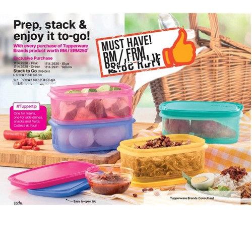 Tupperware Stack to Go (1) 640ml Pink/Blue/Yellow/Green