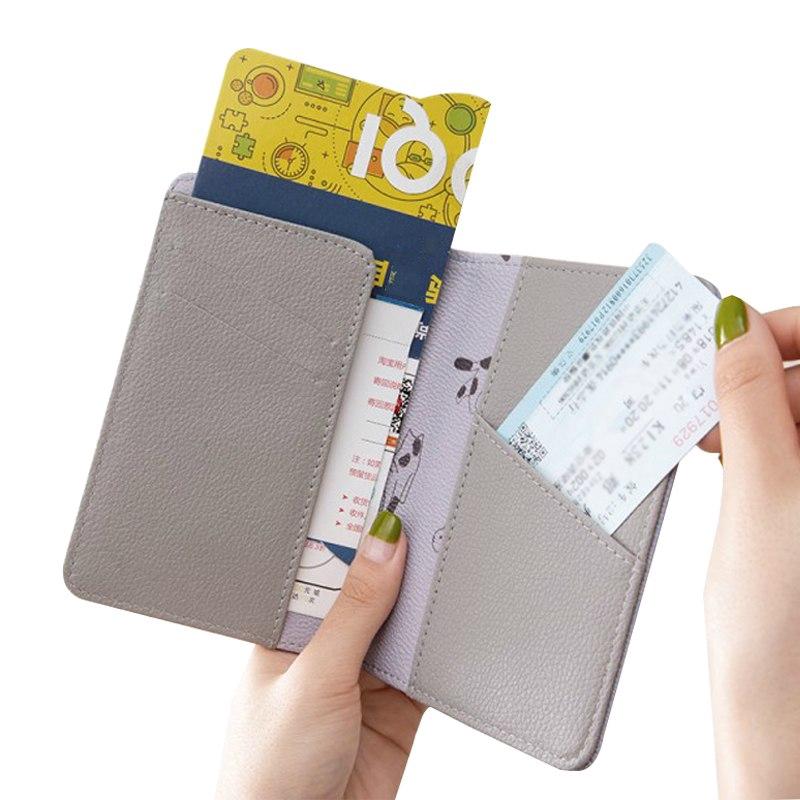 b33b2733564b Women's Waterproof PU Passport Cover Travel ID Credit Card Holder Cartoon  Keys P
