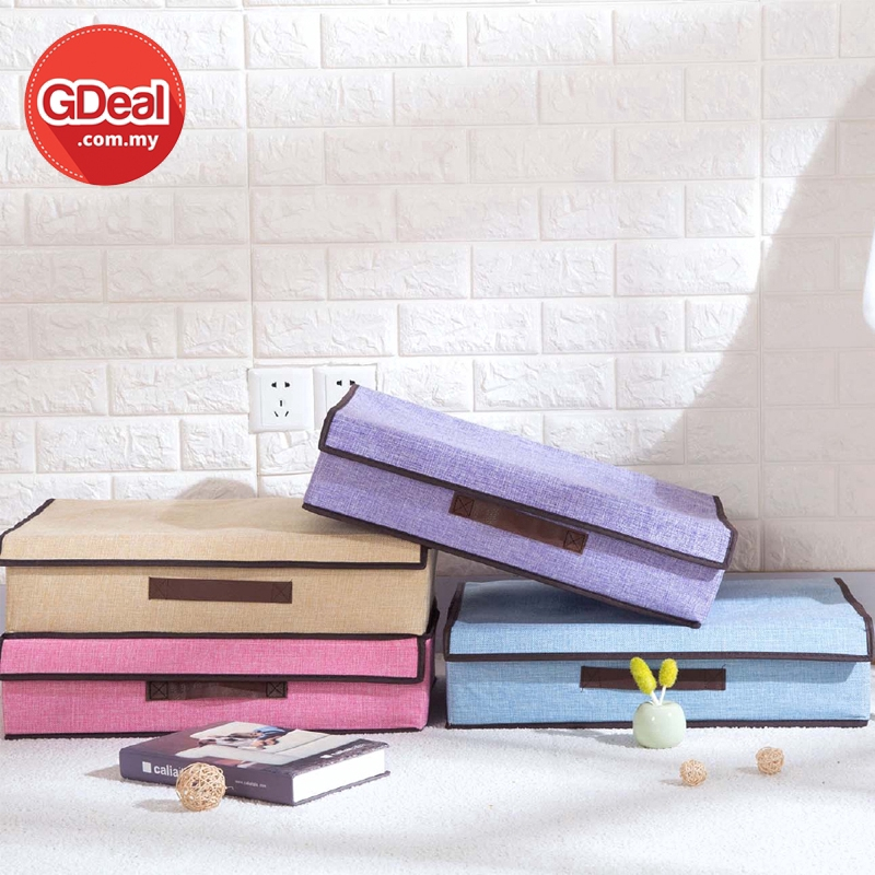 GDeal Folding Cotton And Linen Cloths Storage Box Bedroom Multipurpose Socks Bra Organizer Case