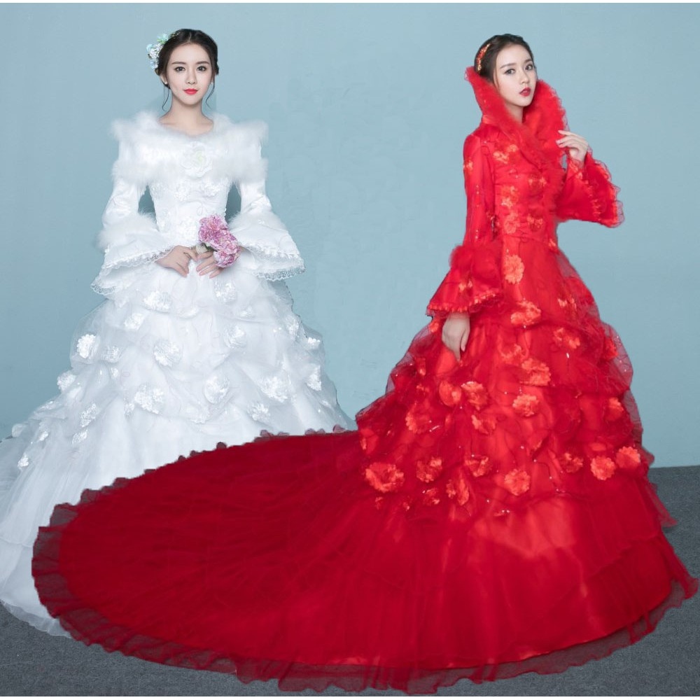 Pop Wedding Dress.Winter Wedding Dress Pop Style Long Sleeve Thick Bride Marry Warm Trailing Dress