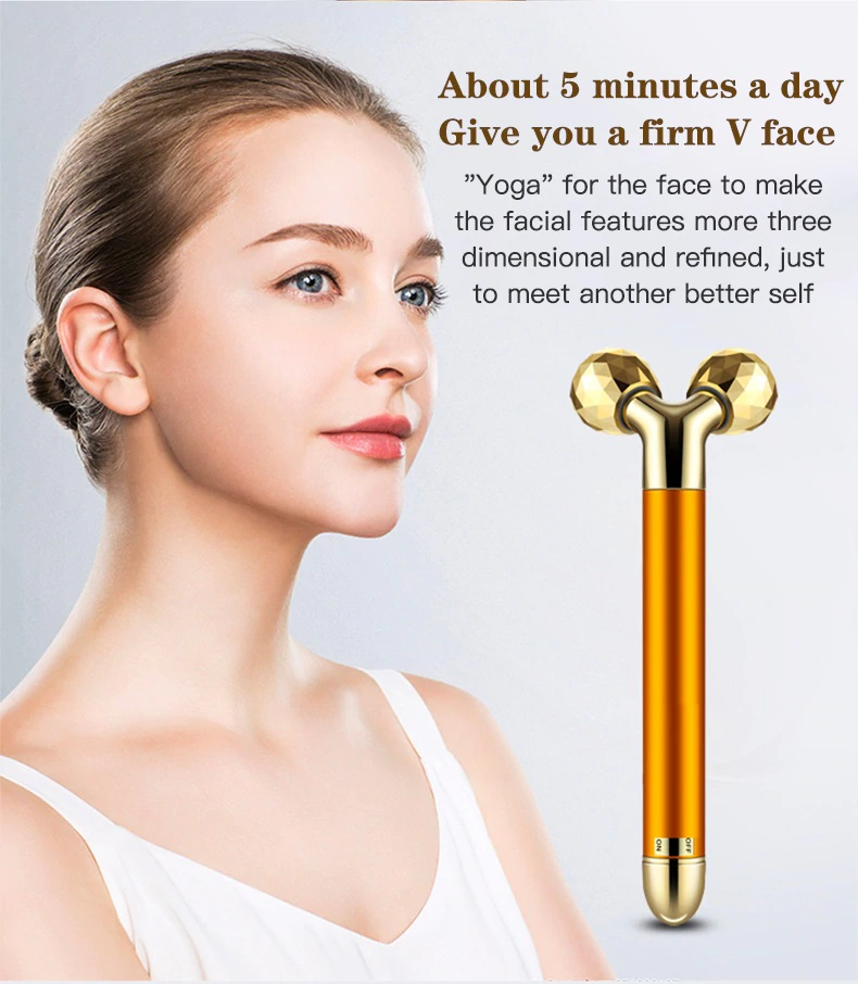 EVON PREMIUM FACE LIFT MASSAGER GOLD ROLLER VIBRATION FACIAL LIFTING TOOLS MASSAGE RELAXATION BEAUTY TOOL V FACE