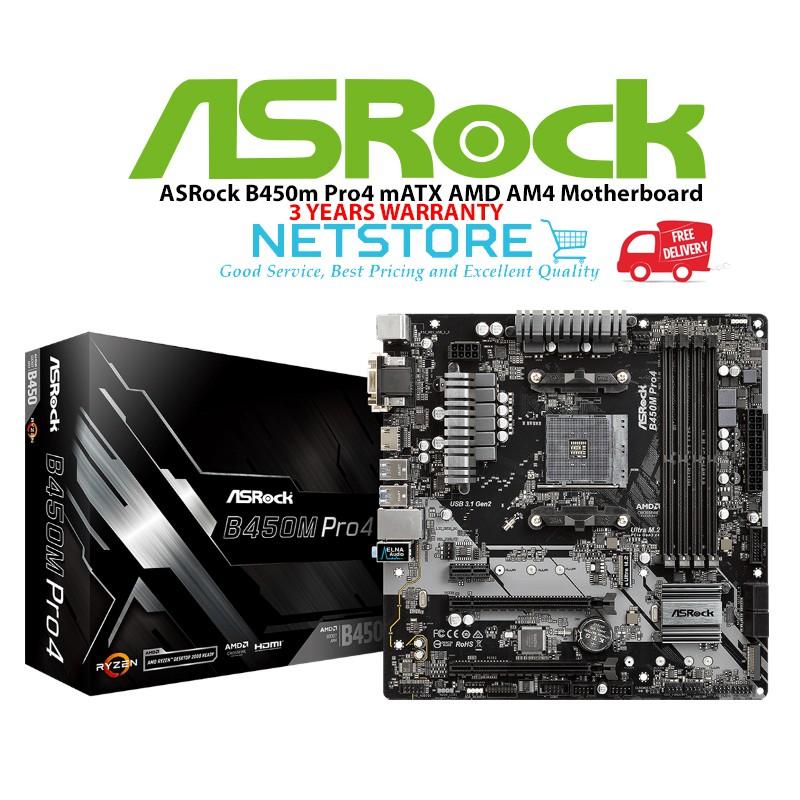 ASRock B450m Pro4 mATX AMD AM4 Motherboard