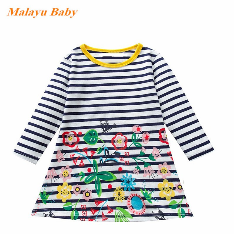 Leaf Printed Kids Baby Girl Dress Long Sleeve Cotton Spring Mini Dress Outfits for 1-5 Years Old