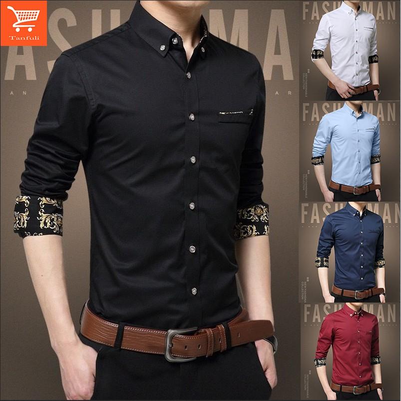 🔥Ready stock [S-3XL] men shirt kemeja lelaki men's shirt long-sleeved slim spring and autumn Korean youth shirt trend casual business British clothes shirt men