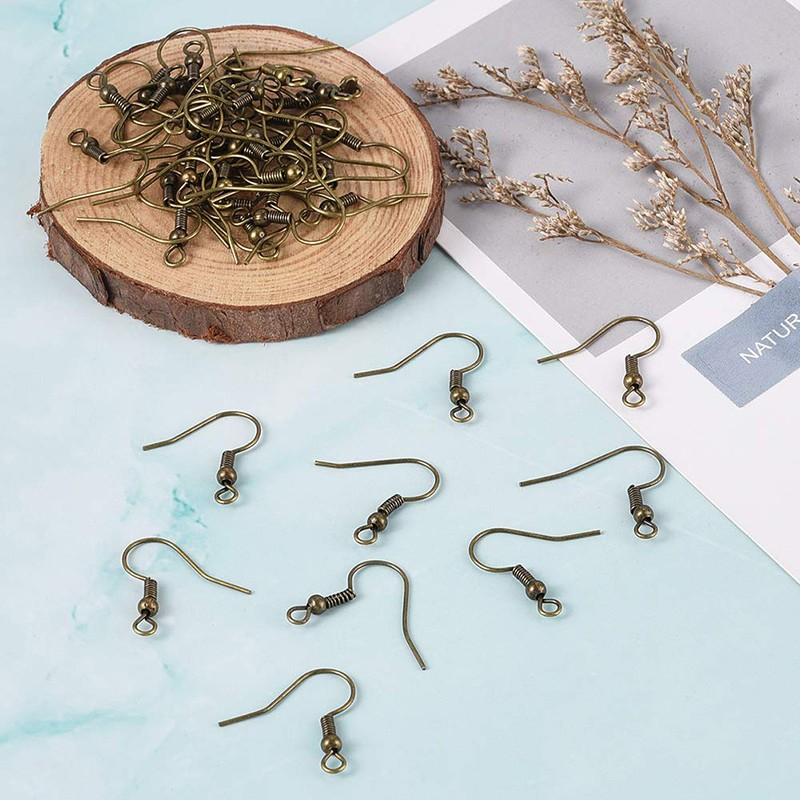 100-500pcs Silver//Golden Plated Tone Coil Wire Metal Earring Hooks 19mm U Pick