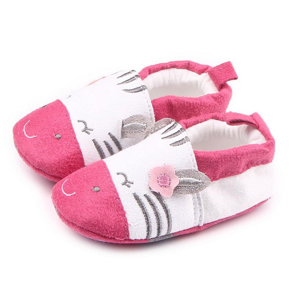 COMVIP Baby Cotton Anti Slip Cartoon Elastic Slipper Toddler Shoes
