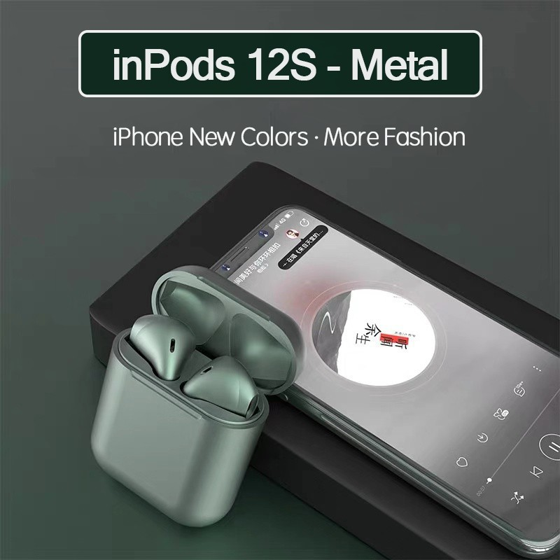 EVON PREMIUM [METAL COLOR] INPODS 12 I12 TWS TRUE WIRELESS BLUETOOTH MINI EARPHONES STEREO EARBUDS EARPIECES ORIGINAL