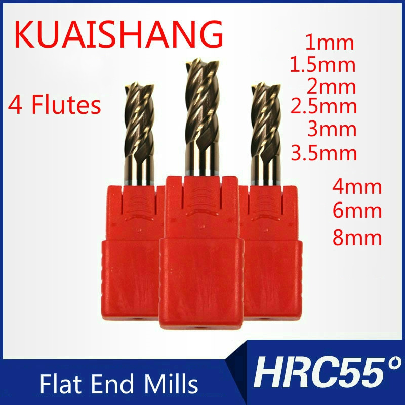 5PCS 8mm HRC55 4 flutes Carbide roughing End Mills CNC milling cutter for steel