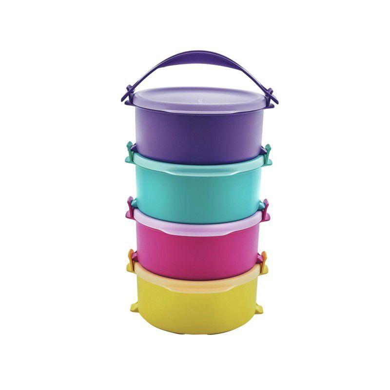 Tupperware Tup Tiffin Set (4) 550ml (Coming Soon Universal Jar Pitcher, Purple Royale Round Server)
