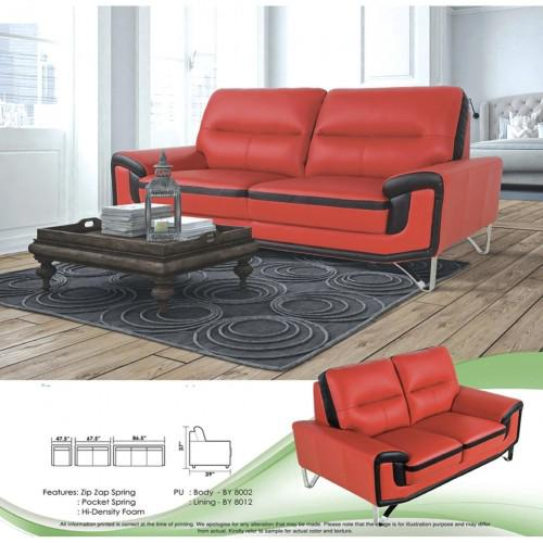 Sofa Set 1+2+3 Fully Leather Sofa Lounge Chair Relax Sofa (Red Color)
