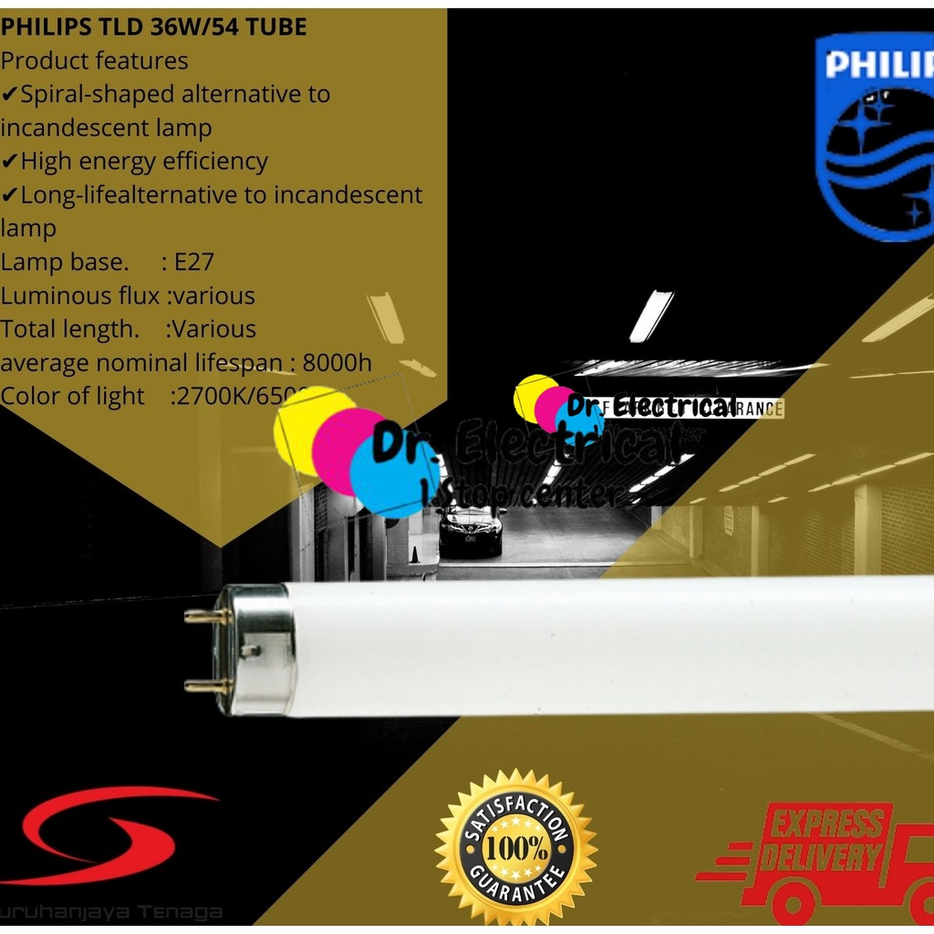 Philips TLD Tube Lifemax 36W(/865/840/827 (CLEAR/YELLOW/DARK YELLOW)