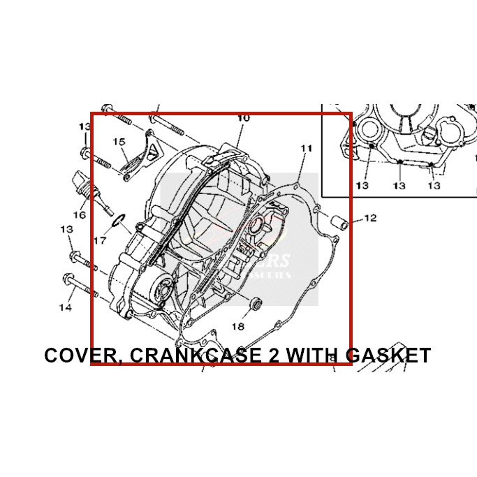 100% ORIGINAL HONG LEONG YAMAHA ENGINE CRANKCASE COVER CLUTCH WITH GASKET+COVER CAP OIL ELEMENT FILTER+PLUG,OIL LEVER