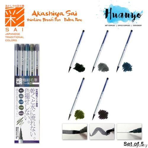 Akashiya Fude Brush Pen Sai Thin Line 5 Colors TL300-5VA