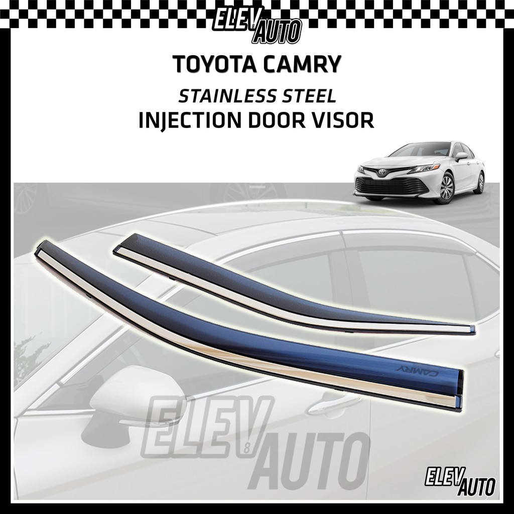 Toyota Camry 2019-2021 Injection Door Visor with Stainless Steel Chrome Lining