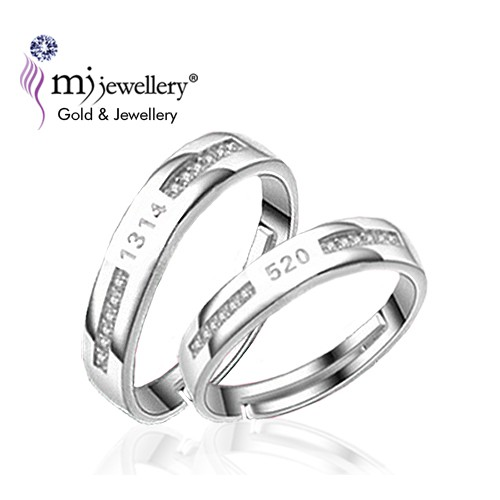 be63a06fd5 ProductImage. ProductImage. MJ Jewellery 925 Sterling Silver (White Gold  Plated) Couple Ring SC546