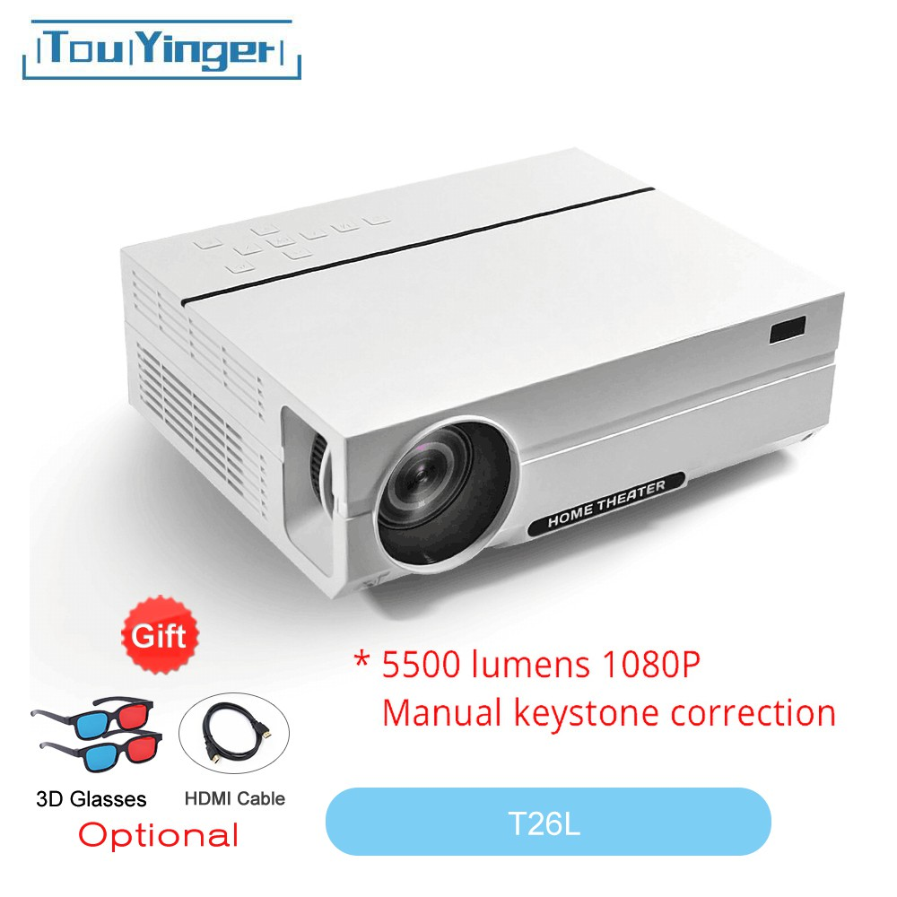 LED Projector T26K Full HD beamer 1920*1080p Video 5500 Lumen T26L Home  cinema ( Android 8 1 wifi AC3 optional)