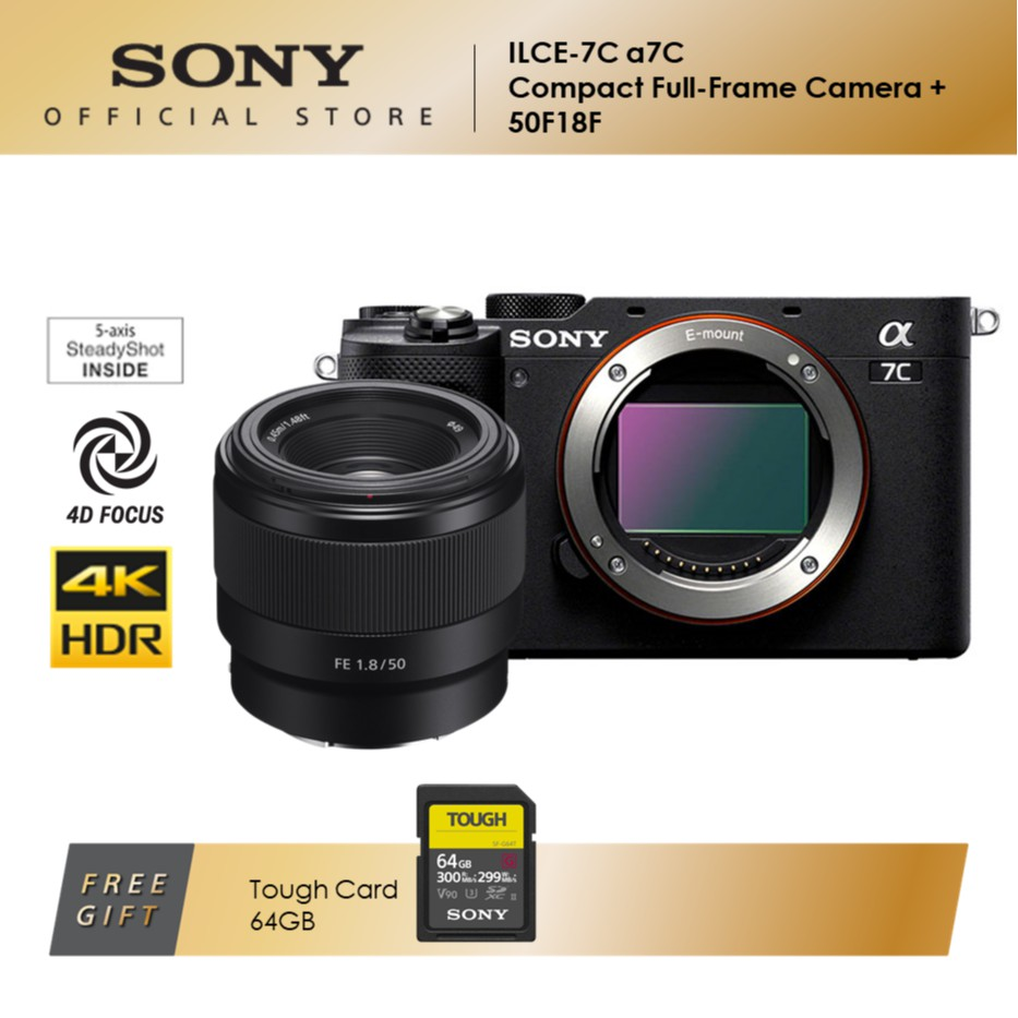Sony ILCE-7C Compact Full-Frame Camera + SEL50F18G Lens