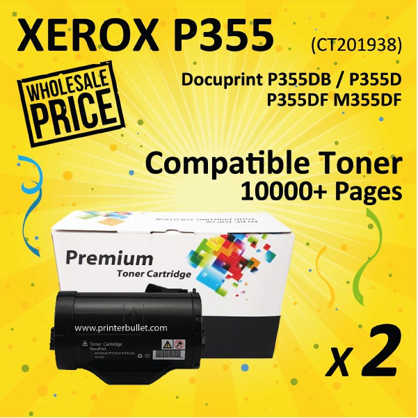 2 unit Fuji Xerox P355 / M355 / CT201938 Compatible Laser Toner Cartridge