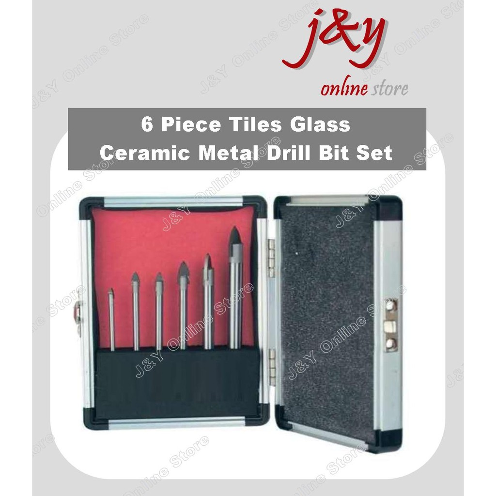 6PC GLASS CERAMIC TILE MIRROR DRILL HOLE BIT SET CARBON STEEL WITH CASE