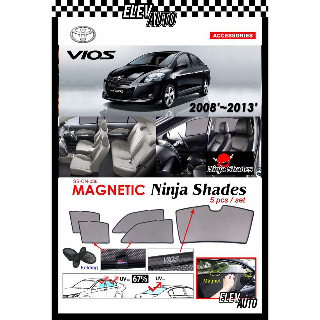 Toyota Vios (2008-2013) Ninja Shades OEM Magnetic Sunshade