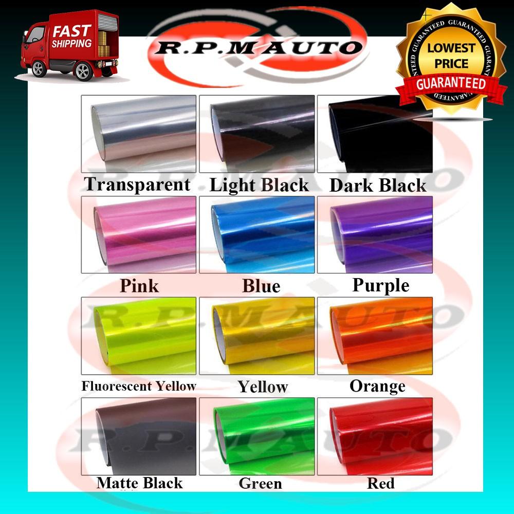 1 Meter*30cm or 1M*40cm Car Kereta Motor Tinted Film Headlamp Headlight Fog light Tail Light Sticker Smoke Tint Film