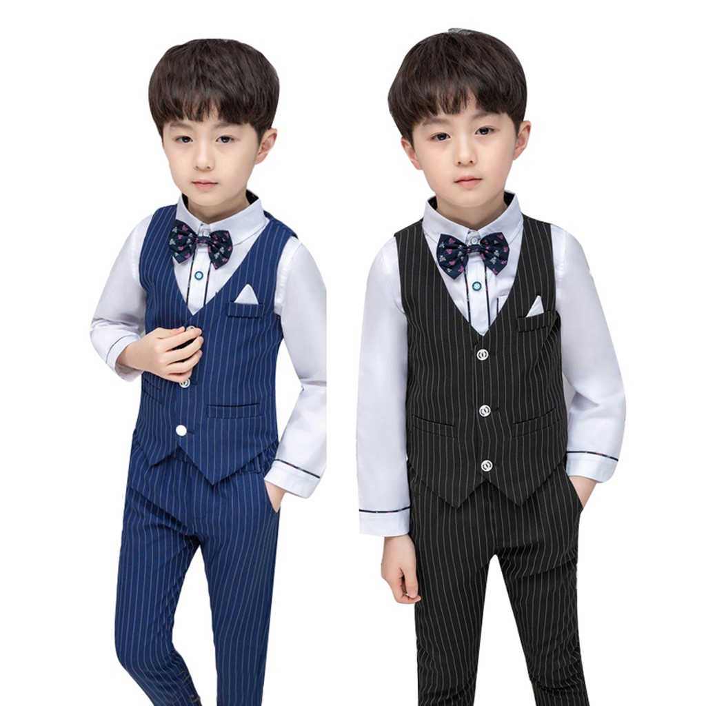 All size Boys Teens Ring Bearer Recital,Graduation Black//White Suit Bow Tie