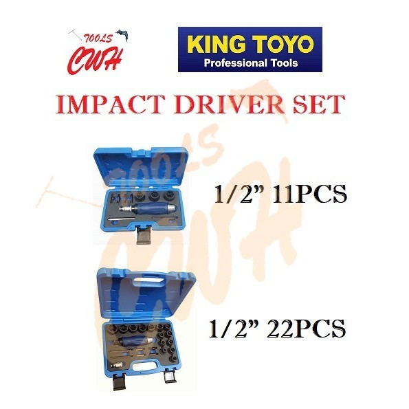 "KING TOYO 11PCS 22PCS 1/2"" DR HAND IMPACT DRIVER SET KT-1211S KT-1222BR"