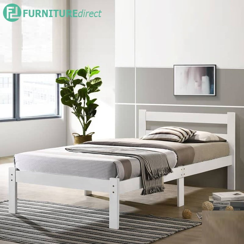 MINA full solid wood single bed frame/ solid wood single bed frame/ katil kayu/ katil single kayu/ ikea/ white