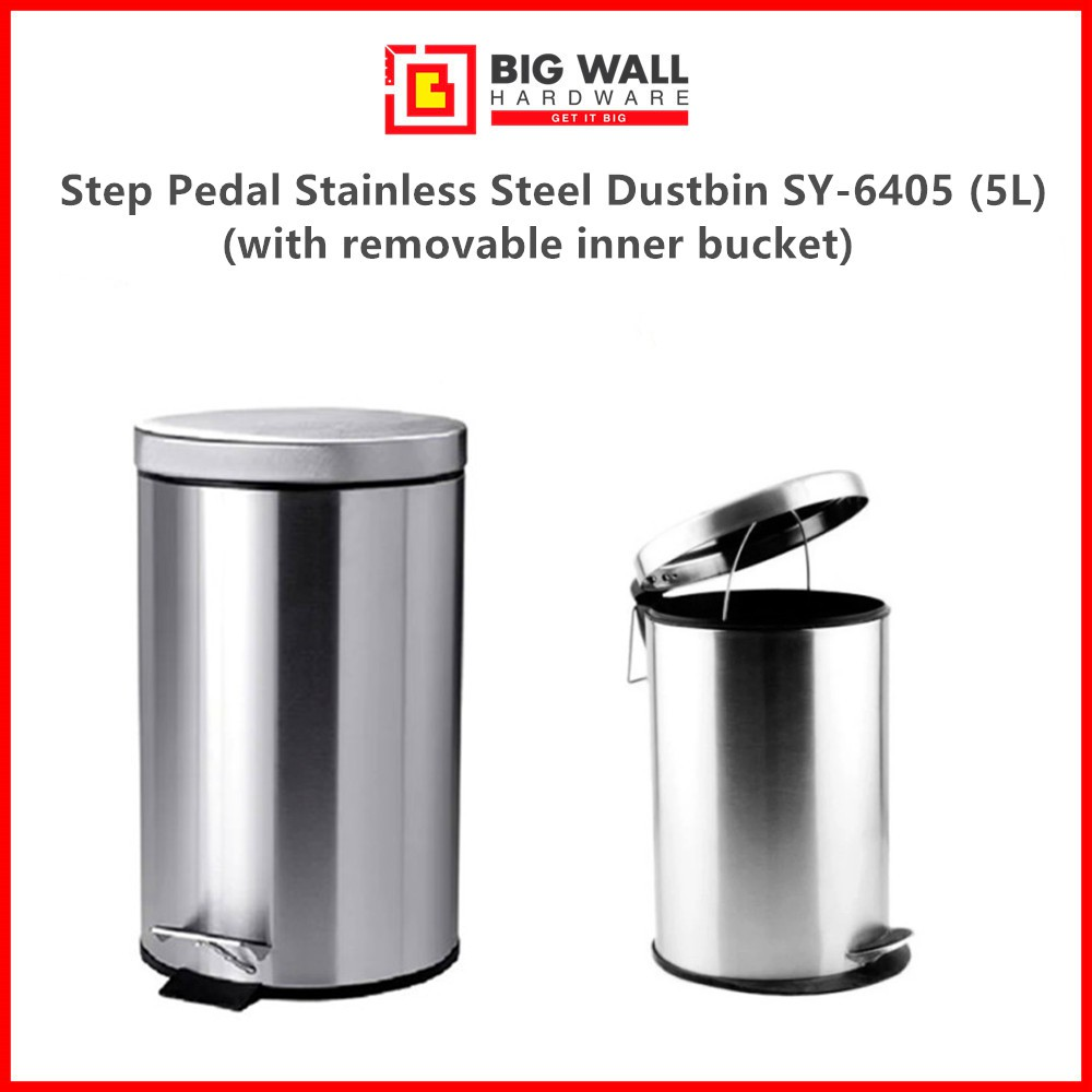 Big Wall Hardware Liters Step Pedal Stainless Steel Dustbin Grade SUS 401 Available in Various Sizes (Tong Sampah)