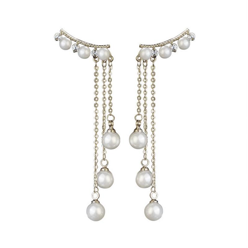 Elegant Tassel Earrings Elegant Female Pearl Anti Allergy Ear Studs