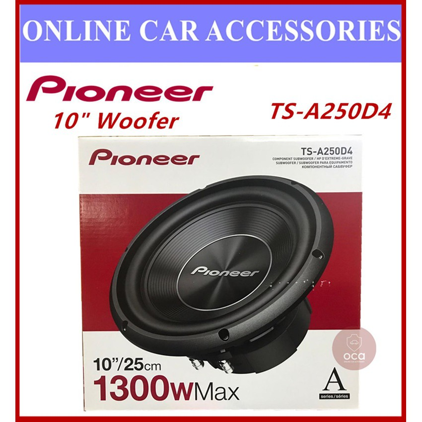 """PIONEER TS-A250D4 10"""" (25CM) A SERIES DVC SUBWOOFER 1300w AT 4 OHM"""