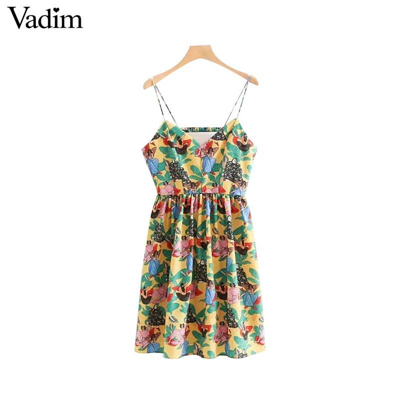 3558f8178aff9 Vadim women sexy backless floral dress V neck sleeveless spaghetti straps  back