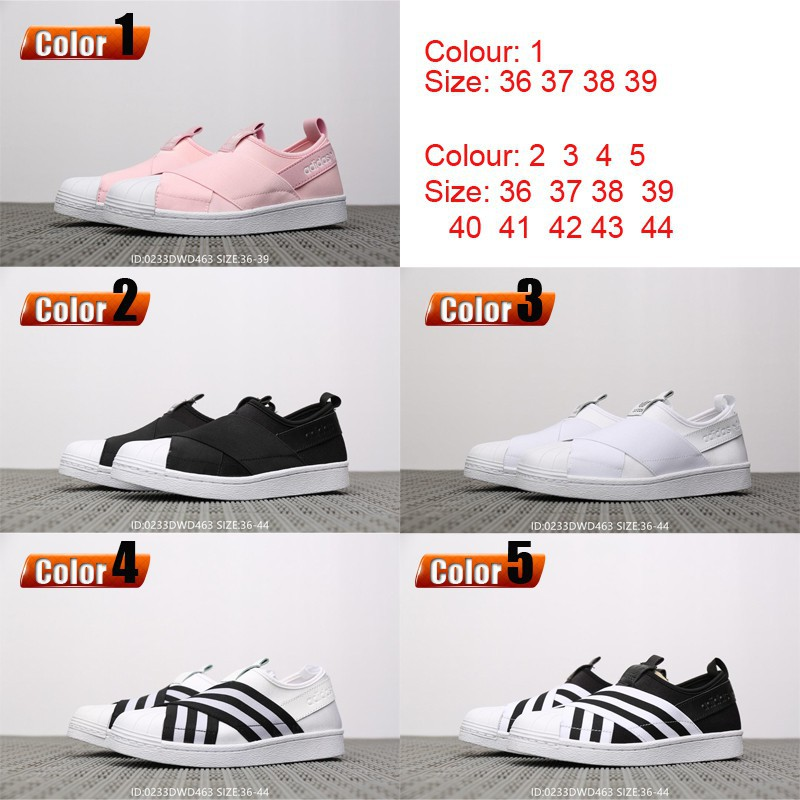 on sale 211ba 8ee24 Adidas Superstar Slip On W elastic bandage casual flat shoes men women shoes