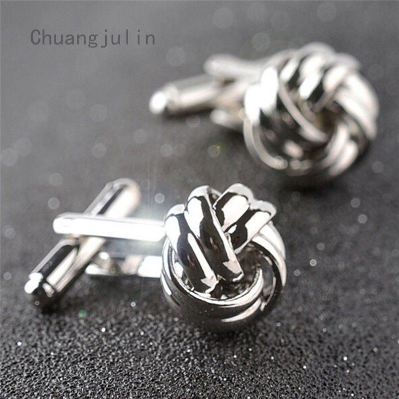 Silver Men/'s Wedding Party Smooth Cufflinks Knot Twist Cuff Links Mens Cufflinks