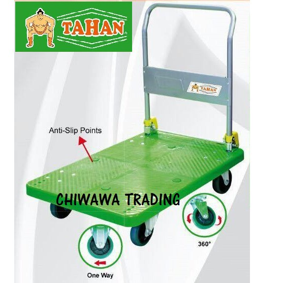 Quality TAHAN 300kg Heavy Duty Pvc Platform Handtruck Trolley Papan Kereta Tolak