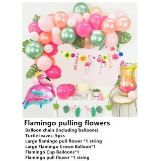 Flamingo Party Supplies Kids Girl Hawaii Luau Decorations Adult Jungle Balloon Hawaiian Party Decorations 1st Birthday
