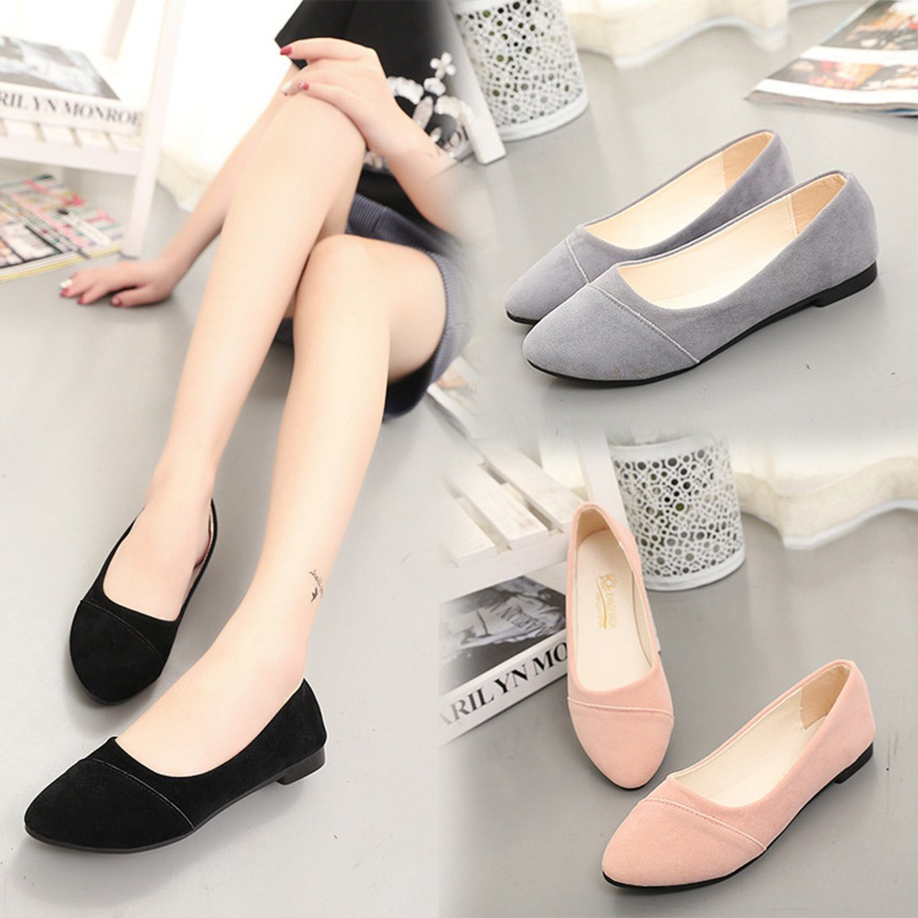 YJfashion  🌟READY STOCK🌟 SUEDE SOFT FLAT SHOES  886a03a3c8