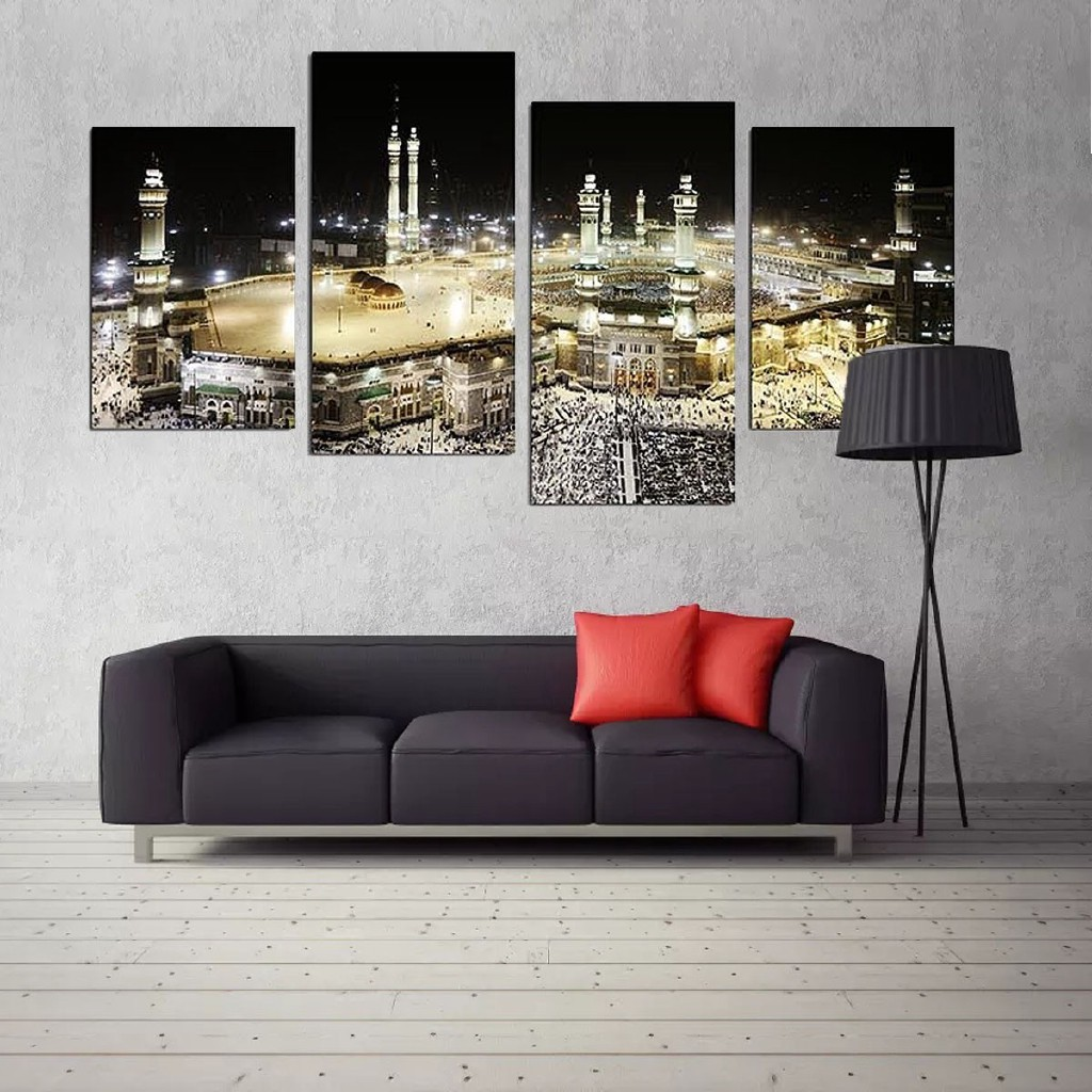 4Pcs Mecca Night Islamic Pilgrimage Canvas Art Painting Wall Picture Home