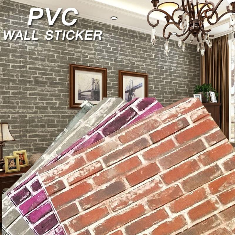 3D Brick Pattern PVC Self-adhesive Flower Wallpaper Roll ...