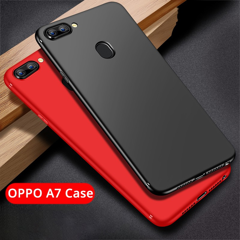 size 40 f3b8b a9dfa OPPO A7 Case | Soft Slim Matte Casing Shockproof Back Cover with Ring Holder