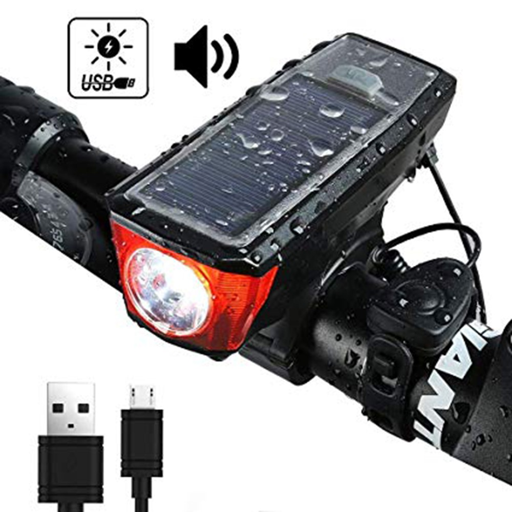 Horn Waterproof Bicycle Front Light Solar Powered USB Rechargeable Torch Bike