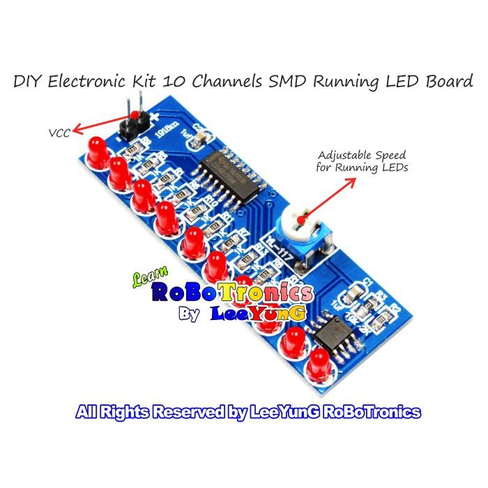 Running Led Light Lamp Diy Electronic Kit Ne555 Cd4017 Adjustable Speed