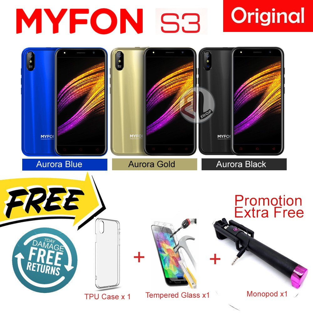 Official Myfon S3 RAM 1GB + ROM 8GB ANDROID 7 0 Smart Phone