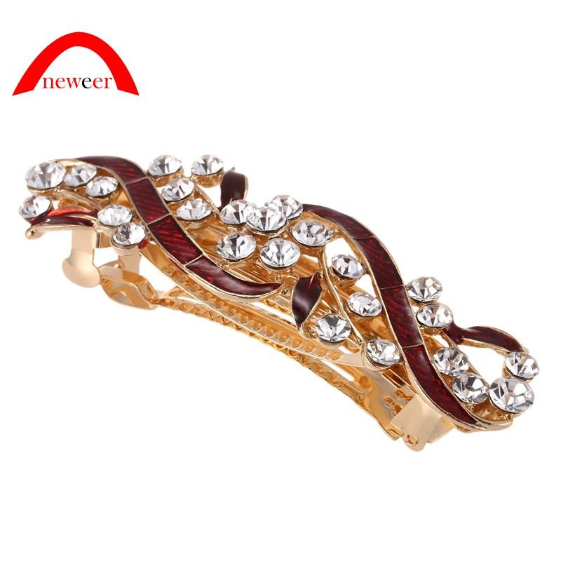 b60d156f1fb21 Sparkle Strass-Dekor Rot Metall-Blaetter-Entwurf Franzoesisch Clip  Haarspange fuer Frauen Neweer