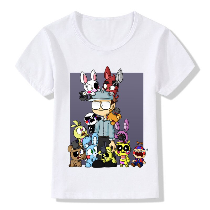 Children Cute Cartoon Five Nights At Freddy's Print Funny T-shirt Summer Kids Baby Clothes Boys Girls Tops T shirt