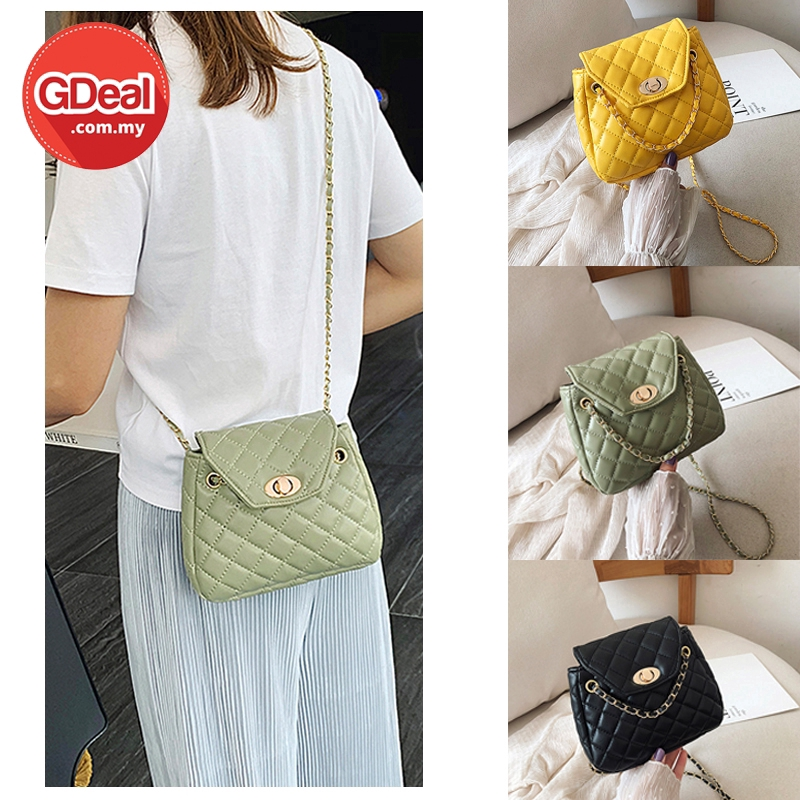 GDeal Korean Fashion Women Chain Square Dinner Leisure PU Leather Messenger Style Quilted Sling Bag