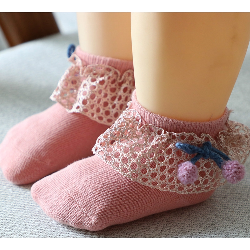 6 Pairs of Baby Girl Cotton Mesh Dress Socks with Bowknot Seamless 6-12M,1-2T.